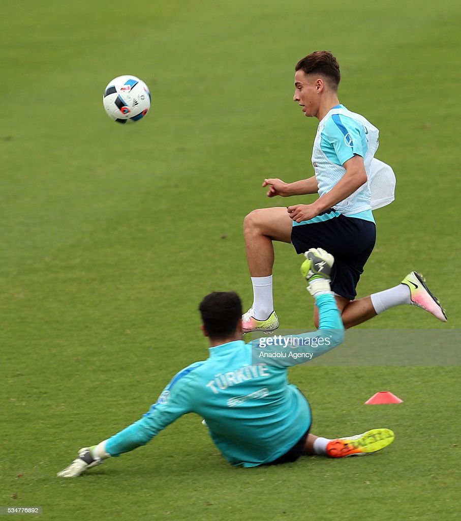 The Turkish national football team's Emre Mor vies for the ball in a training session at the Gloria Sports Arena during the camp for their Euro 2016 preparations in Belek district of Antalya, Turkey on May 27, 2016.