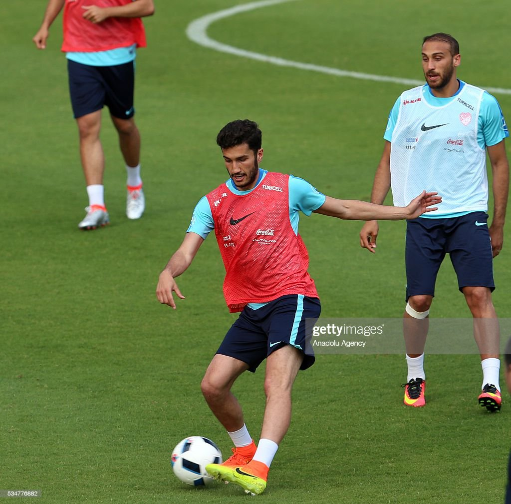 The Turkish national football team's Nuri Sahin in action as he takes part in a training session at the Gloria Sports Arena during the camp for their Euro 2016 preparations in Belek district of Antalya, Turkey on May 27, 2016.