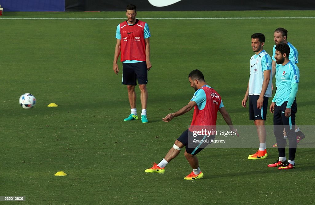 The Turkish national football team's player Arda Tran (left 2) in action as he takes part in a training session at the Gloria Sports Arena on May 28, 2016, ahead of a friendly game against Montenegro which will be played on May 29, 2016, at the Antalya Arena, as part of their Euro 2016 preparations.