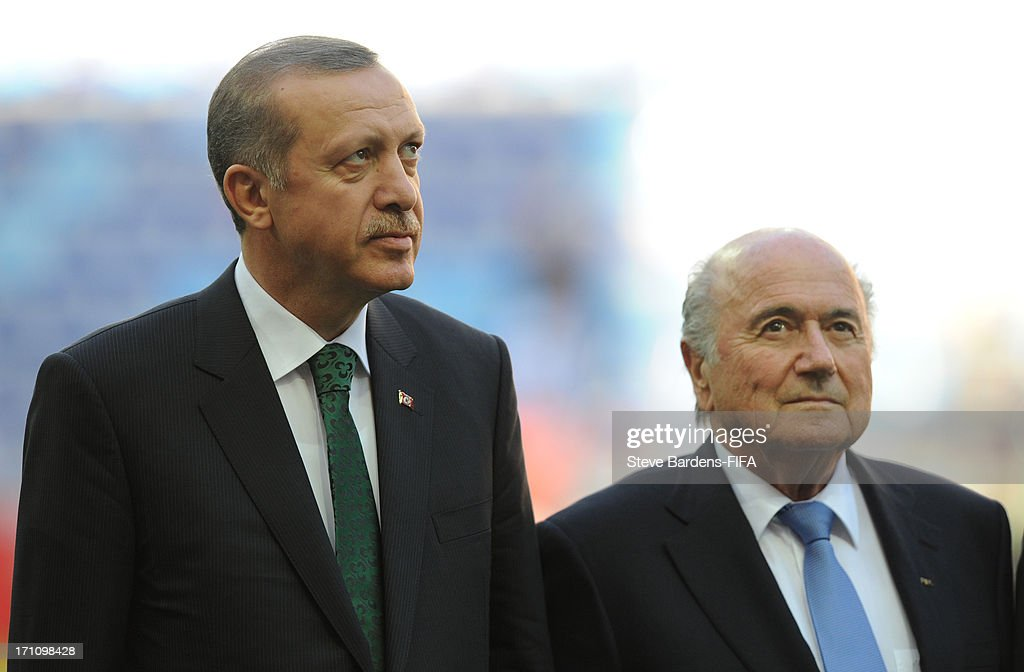 The Turkish prime minister Tayyip Erdogan and FIFA President Joseph Blatter before the FIFA U-20 World Cup Group B match between Cuba and Korea Republic at Kadir Has Stadium on June 21, 2013 in Kayseri, Turkey.