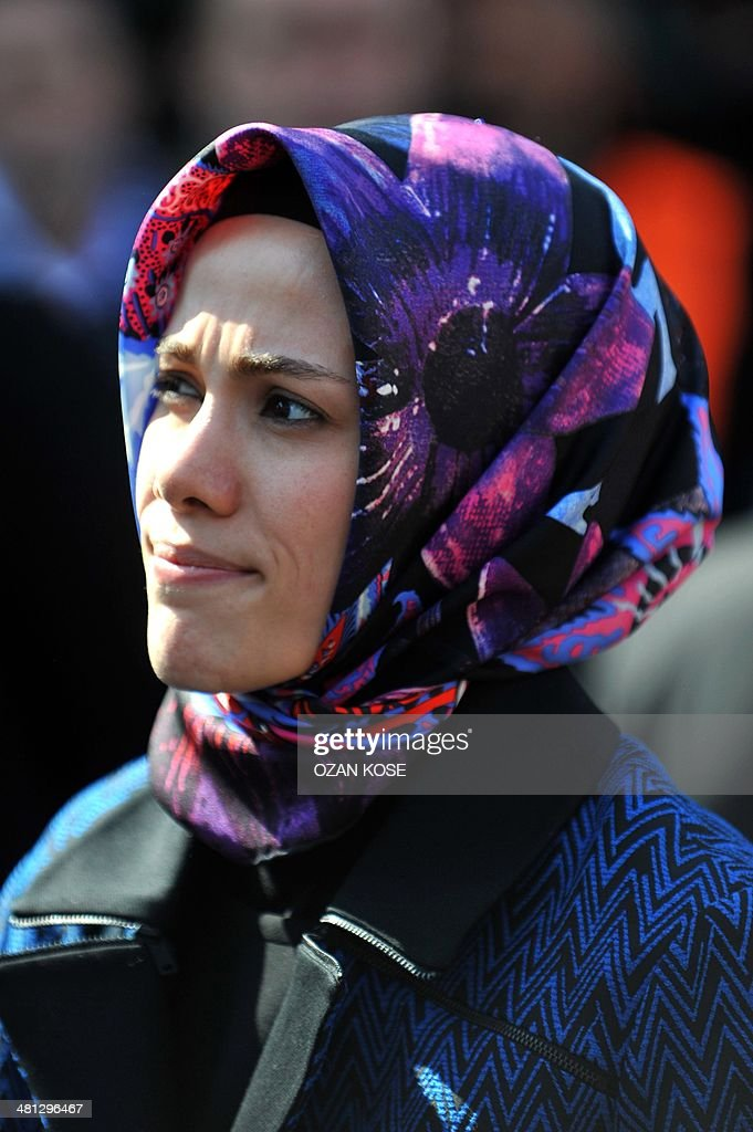 The Turkish Prime Minister's daughter Esra Albayrak attends a rally of the Justice and Development Party (AKP) in the Maltepe district at the asia side of Istanbul on March 29, 2014. Turkey gears up for local elections on March 30 ahead of a presidential vote in six months and parliamentary polls next year. Turkish Prime Minister Recep Tayyip Erdogan and his Islamic-leaning party, after over a decade in power, face the first electoral test following months of political turmoil, with mass street protests and a corruption scandal spread via Twitter, Facebook and YouTube. Amid an atmosphere of distrust ahead of tomorow's election with over 50 million eligible voters, the CHP and tens of thousands of citizen volunteers plan to monitor the ballot count. AFP PHOTO / OZAN KOSE