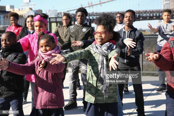 The Turnaround Arts Students film Turnaround Arts music video project 'Love Train' at Empire Stores on October 17 2017 in New York City