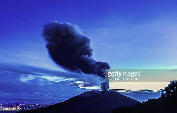 The Turrialba volcano located in the Costa Rican province of Cartago about 35km southwest of San Jose spews ash on November 1 2014 The Turrialba...