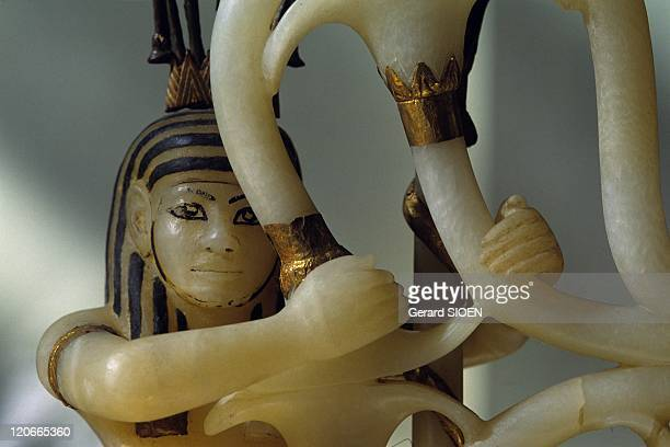 The Tutankhamun treasure at the museum of Cairo Egypt Cairo capital Albaster vase decorated with gold and ivory intended to receive the royal couple...
