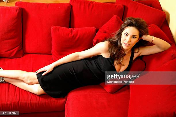 The TV announcer and presenter Emanuela Folliero posing for a photo shooting in her house on viale Monza Milan Italy 15th March 2006