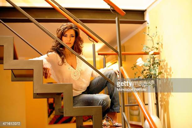 'The TV announcer and presenter Emanuela Folliero posing for a photo shooting in her house on viale Monza Milan Italy 15th March 2006 '