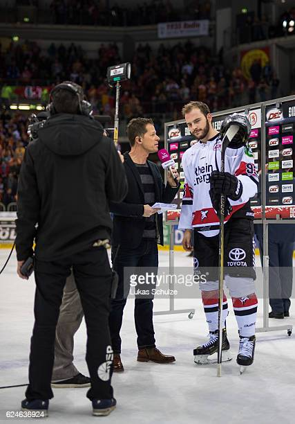 The TV crew of Sport1 is working after the DEL match between Duesseldorfer EG and Koelner Haie at ISS Dome on November 20 2016 in Duesseldorf Germany