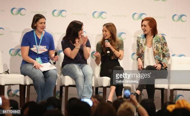 The TV Junkies EditorinChief Bridget Liszewski television producer Emily Andras actresses Dominique ProvostChalkley and Katherine Barrell speak...