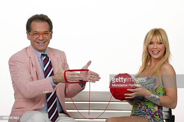The TV presenter and journalist Alessandro Cecchi Paone and the showgirl Matilde Brandi posing in a photocall for the TV show Scommettiamo Che Italy...