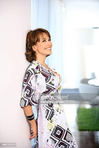 The TV presenter Barbara D'Urso posing for the photo shooting shooted for the second season of the TV show Mattino Cinque Milan Italy 2008