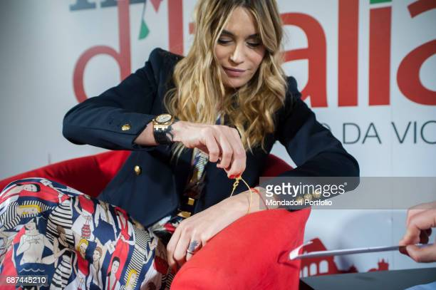 The Tv presenter Elenoire Casalegno being interviewed by the editor in chief of Chi Alfonso Signorini for the event Panorama d'Italia Genoa Italy 2nd...