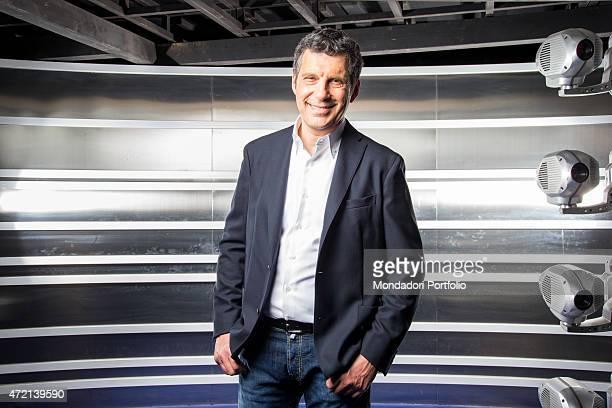 'The TV presenter Fabrizio Frizzi in the studios of the TV show L'eredit Italy 3rd April 2014 '