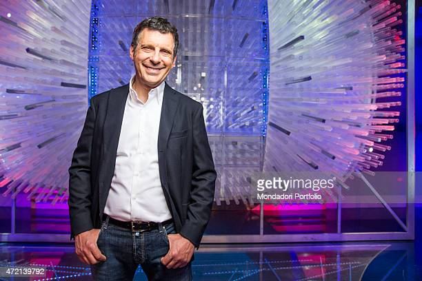 'The TV presenter Fabrizio Frizzi in the studios of the TV show L'eredit Italy 3rd April 2014 '