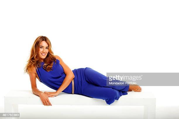 The TV presenter fashion model and journalist Silvia Toffanin during a photo shooting at the Mondadori Sitting Studios Cernusco sul Naviglio Italy...