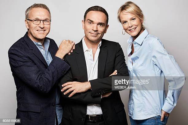 The tv presenter Laurent Ruquiet and his team Yann Moix and Vanessa Burggraf pose for Paris Match on august 29 2016 in Paris France