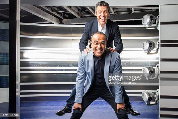 'The TV presenters Carlo Conti and Fabrizio Frizzi in the studios of the TV show L'eredit Italy 3rd April 2014 '