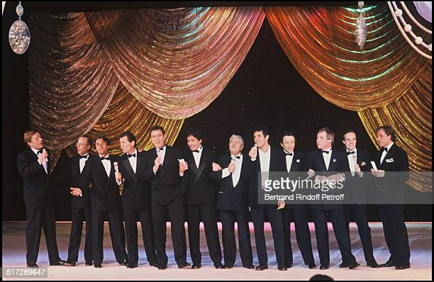 The TV show presenter sing during the 7 D'Or ceremony with Julien Clerc Roger Zabel Thierry Roland Gerard Holtz William Leymergie Philippe Risoli...