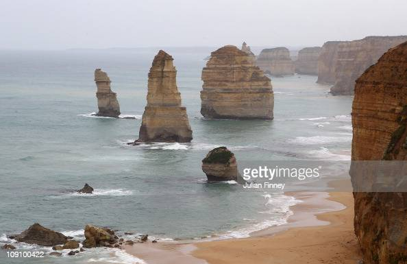 The Twelve Apostles are seen on January 13 2011 in Port Campbell Australia