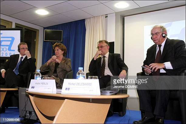 The twenty years of electrical interconnection FranceEngland Simon Cocks Neelie Kroes Andre Merlin Michel Delebarre in Calais France on November 30th...