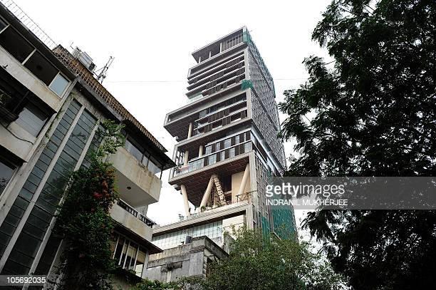 The twentyseven storey Antilia the newlybuilt residence of Reliance Industries chairman Mukesh Ambani is seen in Mumbai on October 19 2010 The 400000...