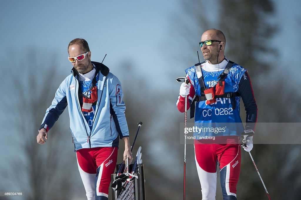 The twin brothers Knut Lystad (left) and Trond Lystad of Norway. Knut is leader of The Nasjonal Waxing Team Cross Country of Norway. Trond is head Coach af the Norwegian Cross Country Team. Ladies 10 km classic. Day 6 of the Sochi 2014 Winter Olympics at Laura Cross-country Ski & Biathlon Center on February 13, 2014 in Sochi, Russia.
