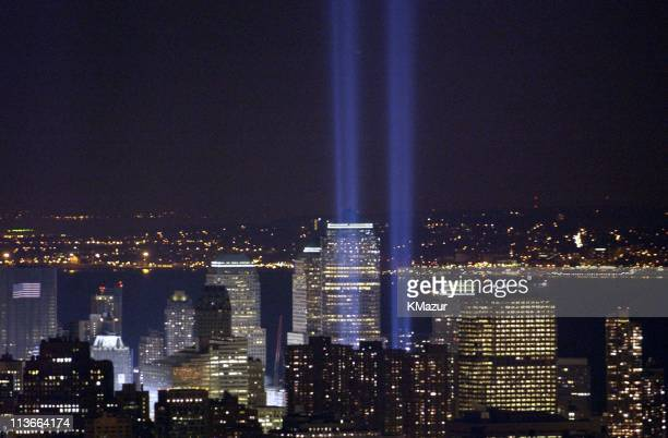The twin lights memorial rises above the downtown New York City Monday March 11 the sixmonth anniversary of the attacks on the World Trade Center and...