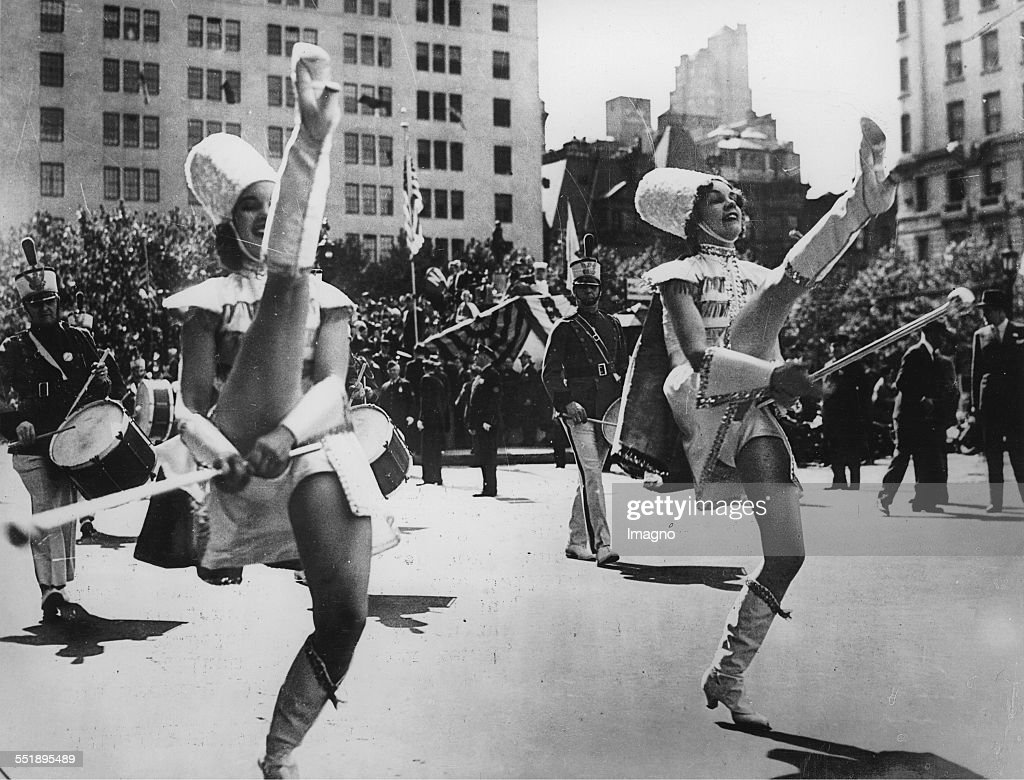The twin sisters Antela and Eleanor McKean as drum majors in a parade of the American Legion Fifth Avenue in New York 29th September 1937 Photograph