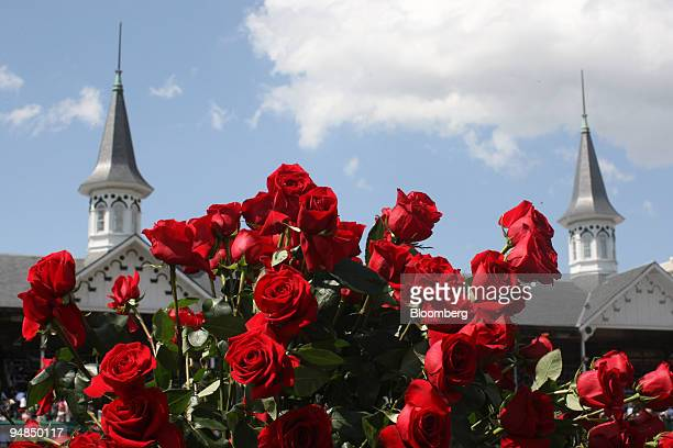 The twin spires stand beyond a bouquet of roses at Churchill Downs prior to the Kentucky Derby in Louisville Kentucky US on Saturday May 3 2008 A...