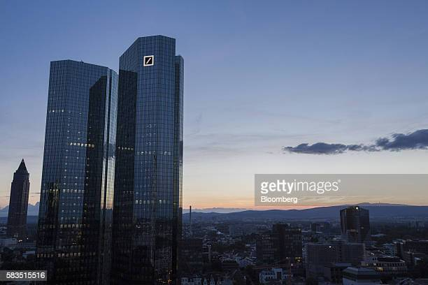 The twin tower skyscraper headquarter offices of Deutsche Bank AG stand at dusk in Frankfurt Germany on Monday July 25 2016 Deutsche Bank Chief...