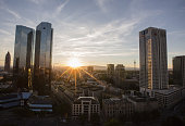 The twin tower skyscraper headquarter offices of Deutsche Bank AG left stand as the sunsets in Frankfurt Germany on Monday July 25 2016 Deutsche Bank...