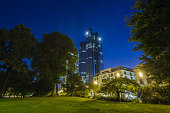 The twin tower skyscraper headquarter offices of Deutsche Bank AG stand illuminated at night in Frankfurt Germany on Monday July 25 2016 Deutsche...