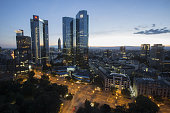 The twin tower skyscraper headquarter offices of Deutsche Bank AG center stand at dusk in Frankfurt Germany on Monday July 25 2016 Deutsche Bank...