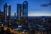 The twin tower skyscraper headquarter offices of Deutsche Bank AG center stand at night in Frankfurt Germany on Monday July 25 2016 Deutsche Bank...