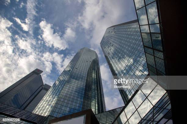 The twin tower skyscraper headquarters of Deutsche Bank AG stand in Frankfurt Germany on Thursday Feb 2 2017 Frankfurt expects as many 10000 workers...