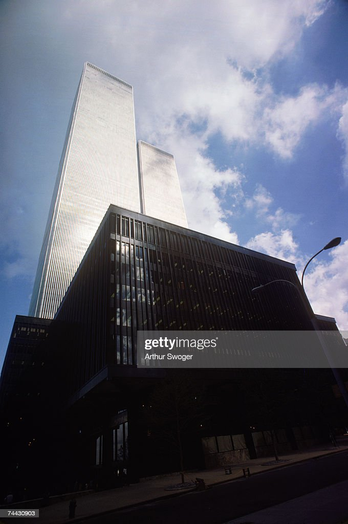 The twin towers of the World Trade Center in New York designed by American architect Minoru Yamasaki, August 1977.