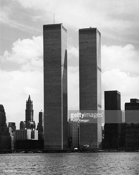 The twin towers of the World Trade Center in New York designed by American architect Minoru Yamasaki 1974