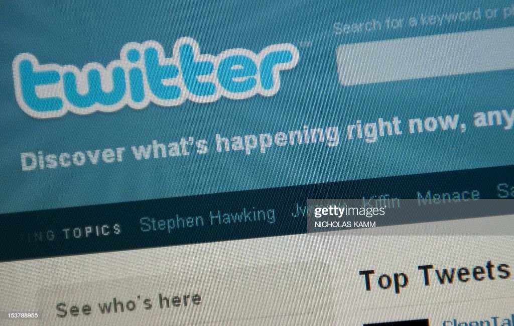 The Twitter homepage appears on a screen in Washington on September 3, 2010. AFP PHOTO/Nicholas KAMM