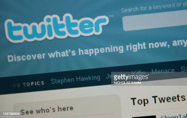 The Twitter homepage appears on a screen in Washington on September 3 2010 AFP PHOTO/Nicholas KAMM