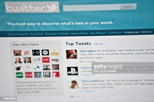 The Twitter homepage is seen on a computer screen in Washington on November 9 2010 AFP PHOTO/Nicholas KAMM