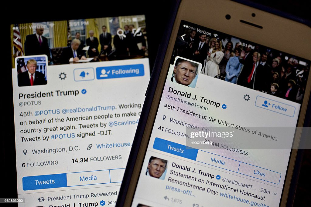 The Twitter Inc. accounts of U.S. President Donald Trump, @POTUS and @realDoanldTrump, are seen on an Apple Inc. iPhone arranged for a photograph in Washington, D.C., U.S., on Friday, Jan. 27, 2017. Mexican President Enrique Pena Nieto canceled a visit to the White House planned for next week after Trump on Thursday reinforced his demand, via Twitter, that Mexico pay for a barrier along the U.S. southern border to stem illegal immigration. Photographer: Andrew Harrer/Bloomberg via Getty Images
