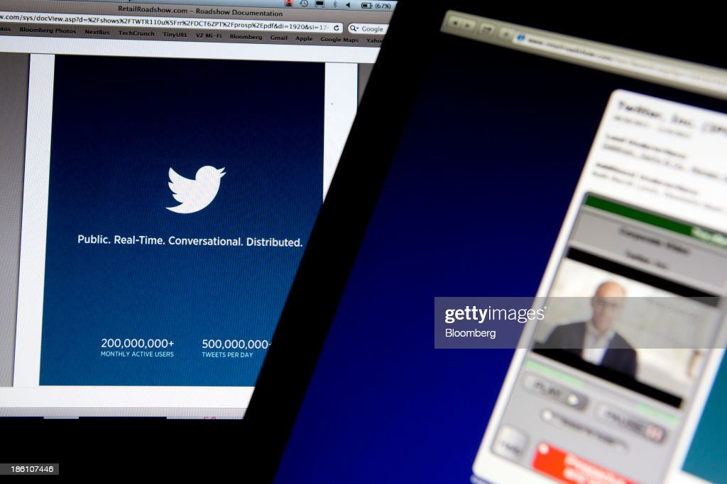 The Twitter Inc. preliminary prospectus is displayed on a laptop computer arranged for a photograph in Washington, D.C., U.S., on Monday, Oct. 28, 2013. Twitter Inc., which embarks on its road show to investors today, will make the case to potential investors in its initial public offering that it needs to keep spending to grow, and profit will come once it can reap the benefits of those investments. Photographer: Andrew Harrer/Bloomberg via Getty Images