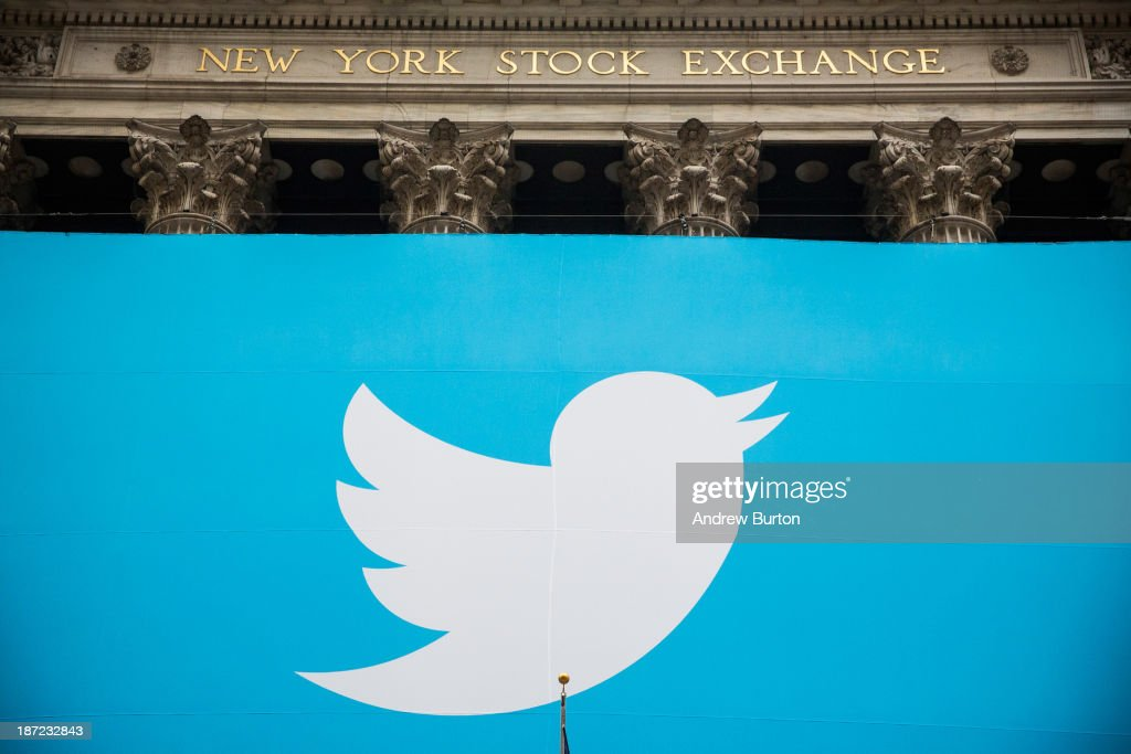 The Twitter logo is displayed on a banner outside the New York Stock Exchange on November 7 2013 in New York City Twitter goes public on the NYSE...