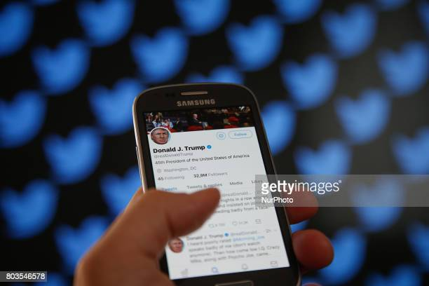 The Twitter timeline of US president Donald Trump is seen on 29 June in BydgoszczPoland after he insulted TV show host Mika Brzezinski on the...