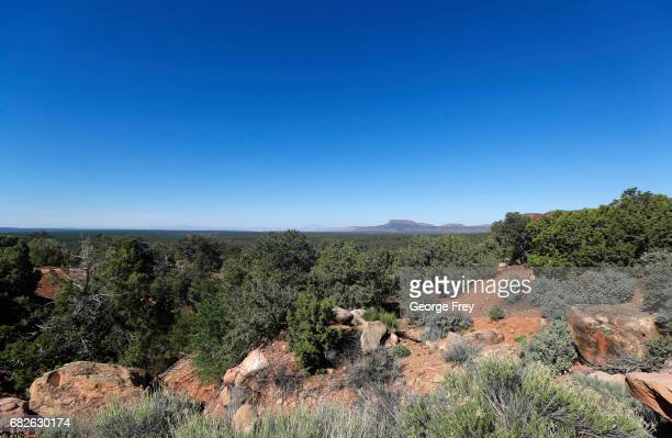 BLANDING UT MAY 12 The two bluffs known as the 'Bears Ears' stand off in the distance in the Bears Ears National Monument on May 12 2017 outside...