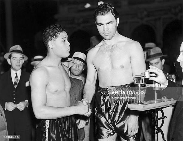 The Two Boxers On The WeighScale On The Fatal Match On Which The German Boxer Schmeling Beat The American One
