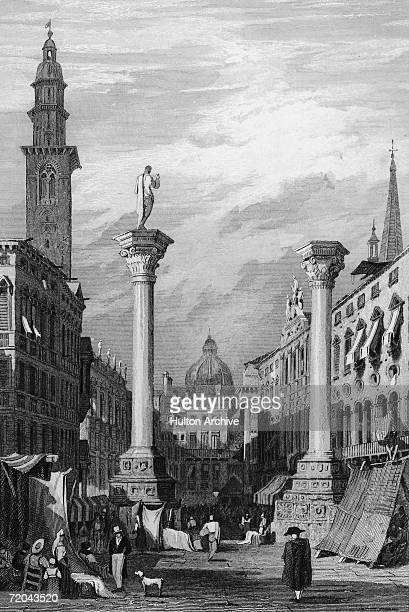 The two columns in Piazza dei Signori in Vicenza with the clock tower on the left circa 1829 An engraving by T Jeavons after a drawing by Samuel Prout