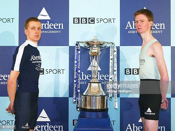 The two coxes Acer Nethercott of Oxford and Kenelm Richardson of Cambridge pose during the WeighIn and Photo call on March 23 2004 at The Hurlingham...