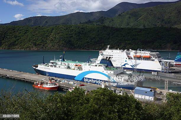 The two ferry companies that operate between the north and South Island 'Bluebridge' and 'interislander' Picton New Zealand