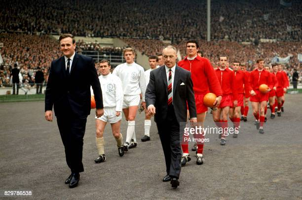 The two managers Leeds United's Don Revie and Liverpool's Bill Shankly lead their teams out at Wembley for the FA Cup Final