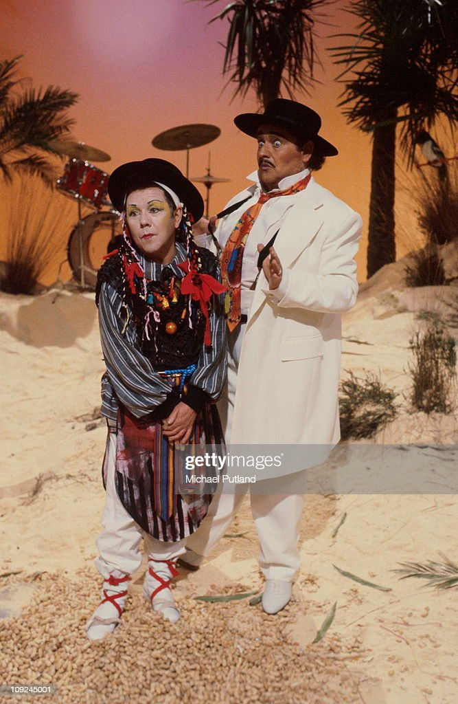 The Two Ronnies appear opn TV show dressed as Boy George and Kid Creole London Ronnie Corbett Ronnie Barker
